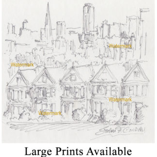 San Francisco skyline #888A pen & ink drawing and prints with painted ladies at Condren Galleries.