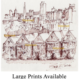 San Francisco skyline #889A pen ink cityscape drawing is popular because of it's view of the painted ladies.