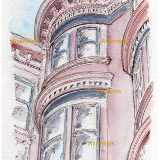 San Francisco pen & ink watercolor city scene painted ladies.