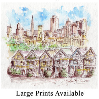 San Francisco pen & ink watercolor skyline on Alamo Square.