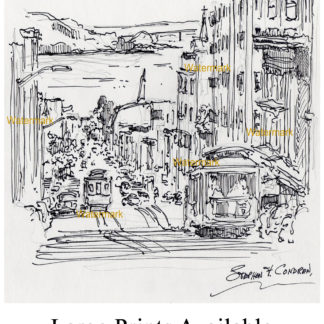 San Francisco trolley pen & ink drawing on Nob Hill.