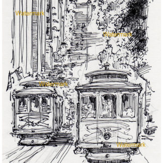 San Francisco trolley #895A pen & ink city scene drawing with views of California Street.