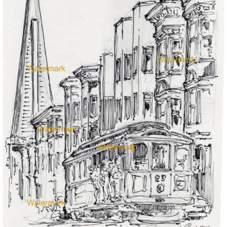 San Francisco trolley #896A pen & ink city scene drawing with people riding on the side.