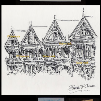 San Francisco pen & ink city scene of painted ladies.