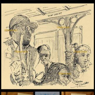Passengers riding inside a San Francisco trolley pen & ink.