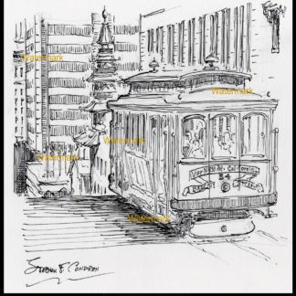 People riding a San Francisco trolley pen & ink drawing.