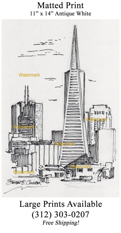 San Francisco skyline #915A pen & ink cityscape drawing is popular with of view of the Transamerica Pyramid.