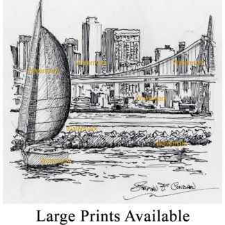 San Francisco skyline pen & ink drawing with sail boats.