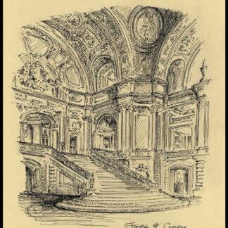 Pen & ink of the rotunda of San Francisco City Hall.
