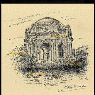 Pen & ink drawing of the Palace of Fine Arts.