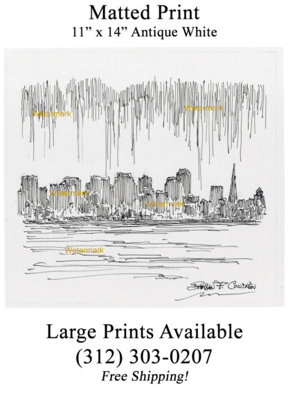 San Francisco skyline #939A pen & ink cityscape drawing is popular because of the view of downtown.