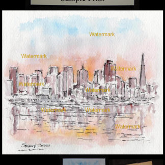San Francisco skyline pen & ink watercolor at sunset.