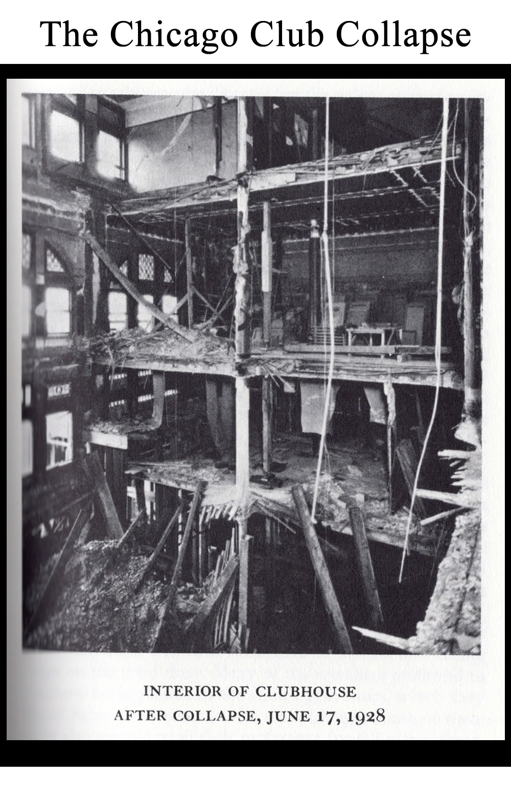 Chicago Club interior after it's collapse in 1927.