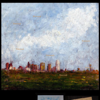 Dallas skyline oil painting at dusk by Stephen F. Condren.