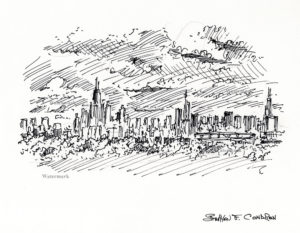 Chicago skyline 752B pen & ink drawing of downtown at sunset.