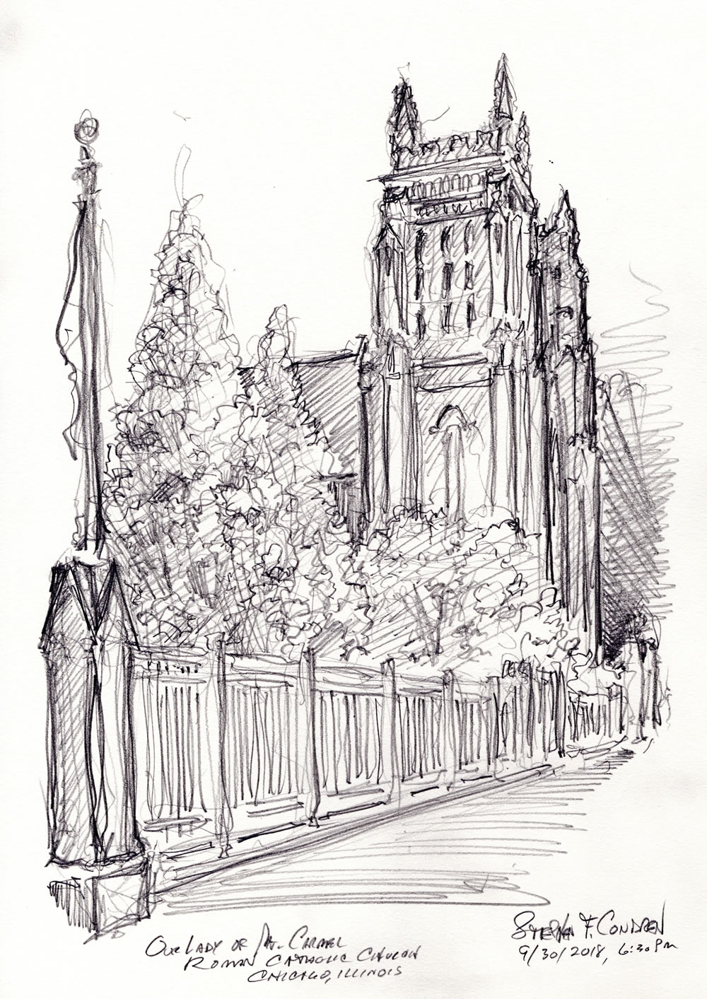 Live pencil drawing of Our Lady of Mt. Carmel Church.