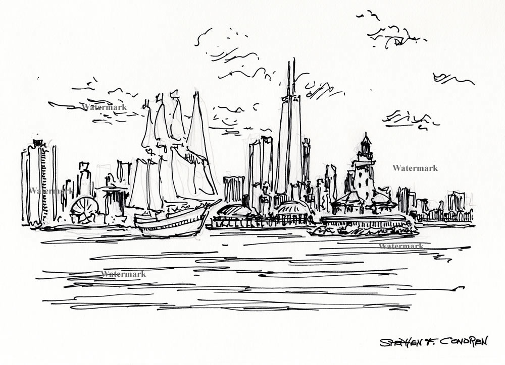 Chicago skyline pen & ink drawing with sail boats.