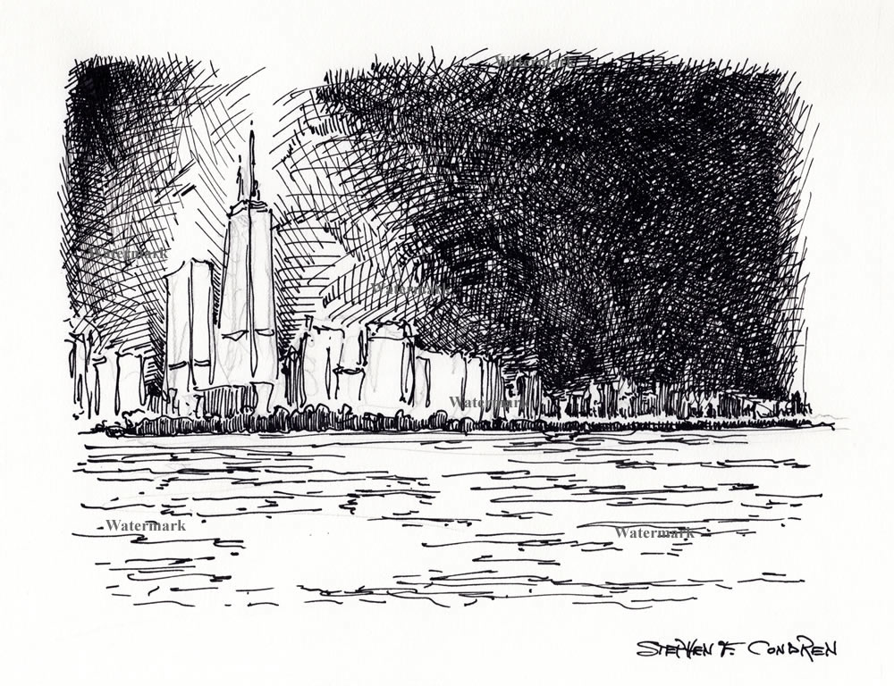 Chicago skyline pen & ink drawing at night.