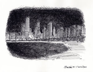 Chicago skyline pen & ink of near north side at night.