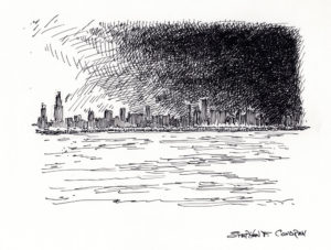 Chicago skyline pen & ink drawing at sunset by Condren.