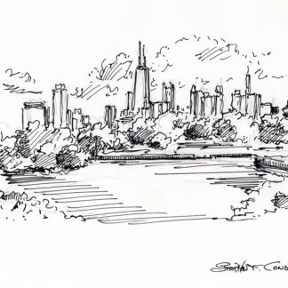 Chicago skyline #750A pen & ink cityscape drawing with a view of Lincoln Park.