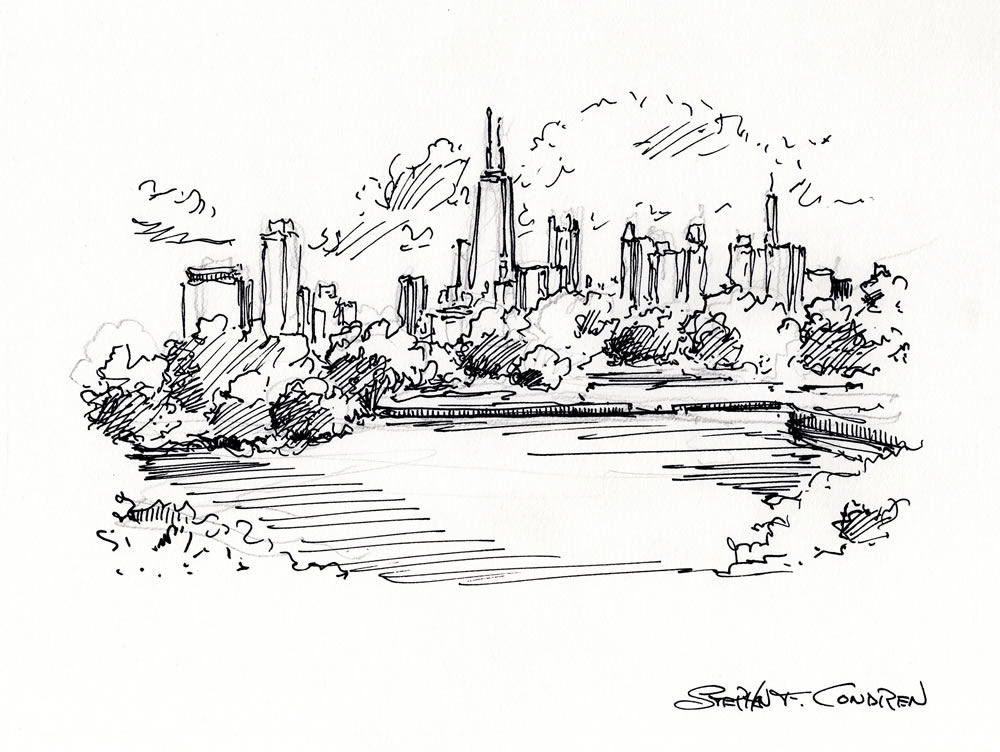 Chicago skyline pen & ink drawing overlooking Lincoln Park.