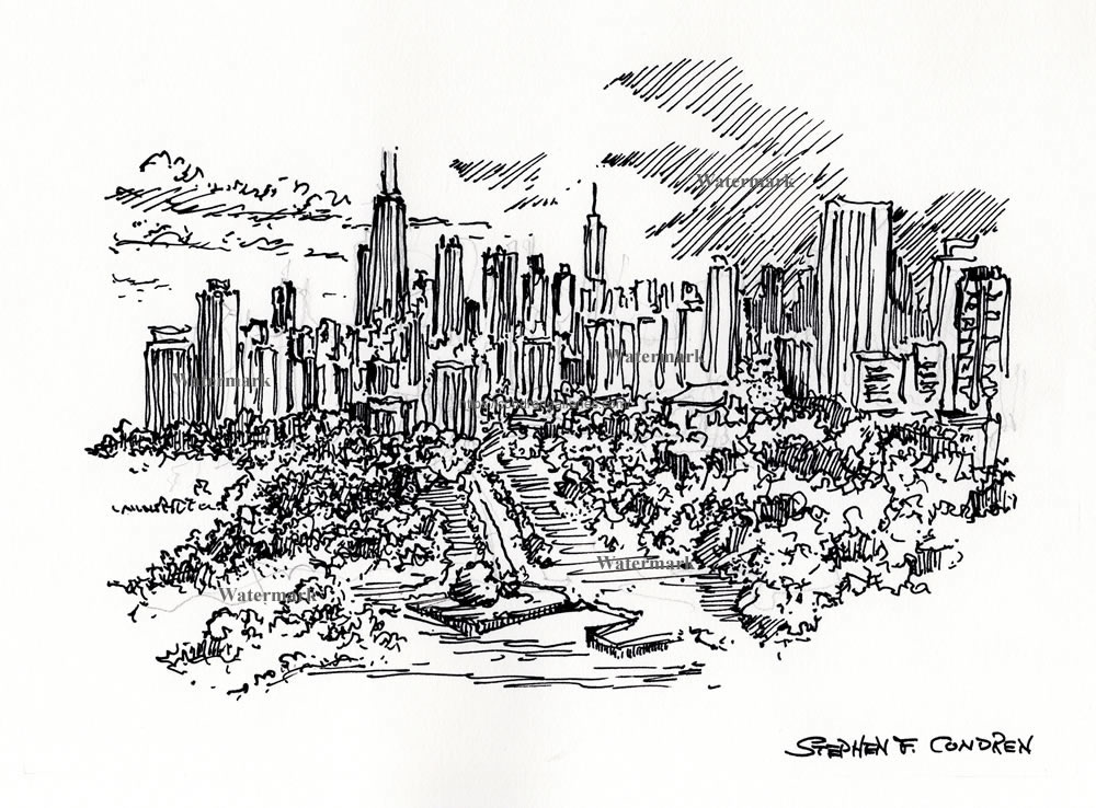 Chicago skyline pen & ink drawing over Lincoln Park.