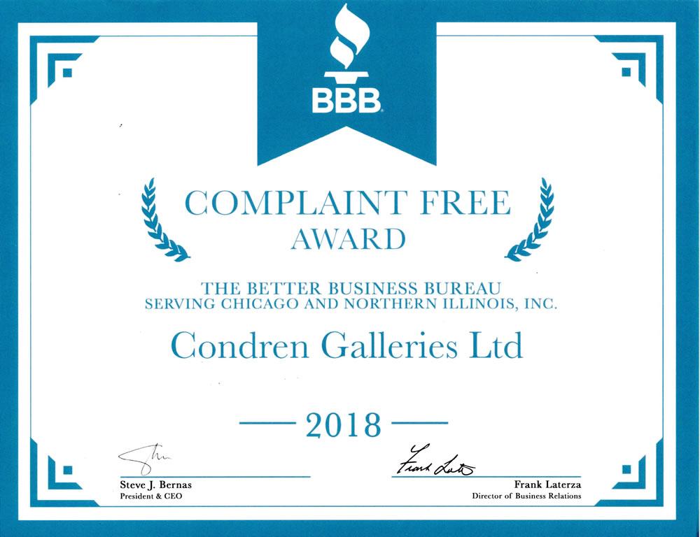 Better Business Bureau No Complaint Award