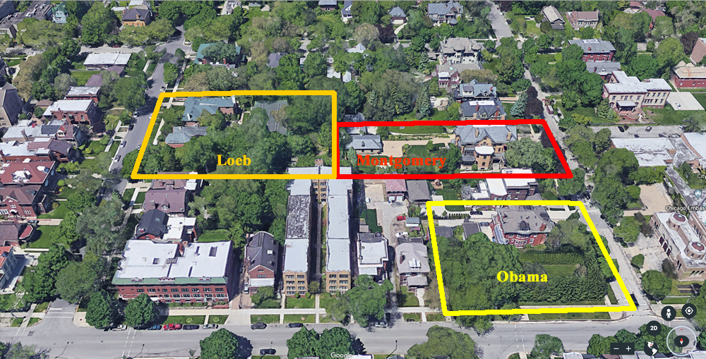 Aerial perspective of Montgomery, Obama, and Loeb sites.