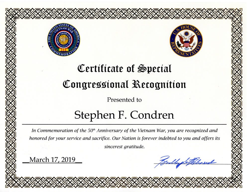 Congressional Recognition From Congressman Bradley Schneider to Stephen F. Condren, of the USS Midway CV-41
