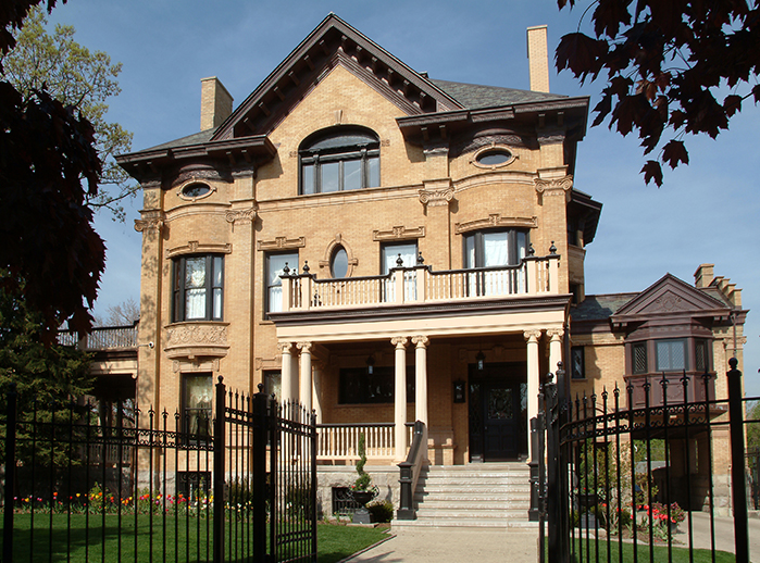Façade of the Goodman Mansion in Chicago, owned by Mr. James Montgomery, attorney at law.