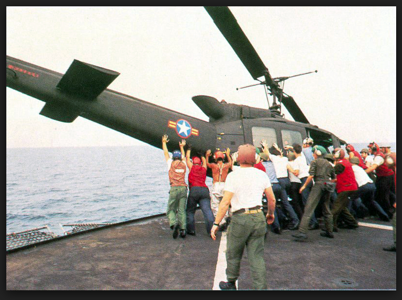Operation Frequent Wind helicopter thrown overboard.