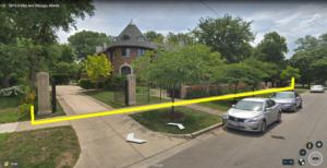 Loeb Mansion fence and posts at 5017 S, Ellis Avenue, Kenwood, Chicago.