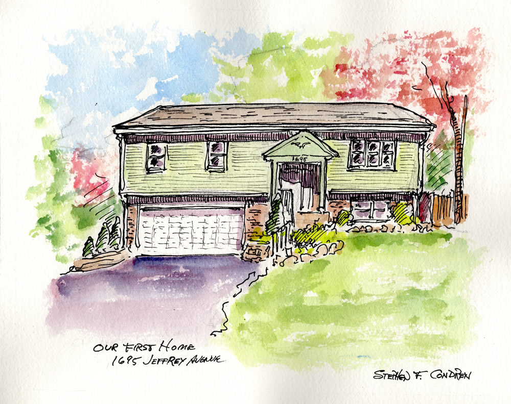 Watercolor house portrait #262Z with pen & ink and pencil.