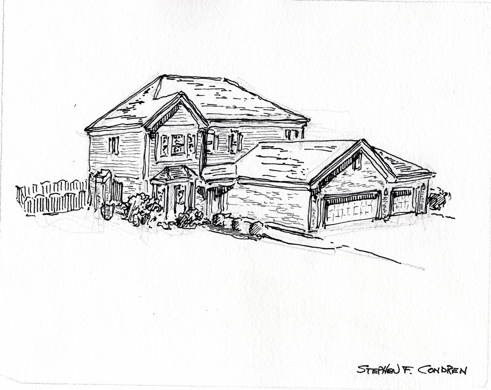 Pen & ink house portrait #263Z.