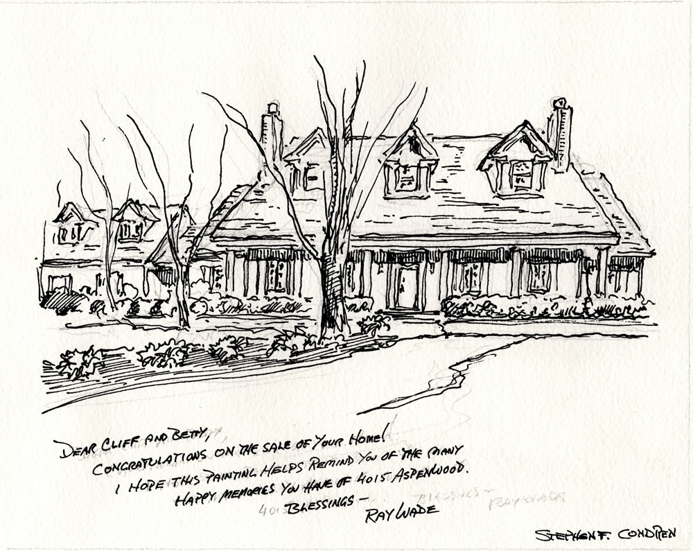 Pen & ink house portrait #264Z with pen & ink.