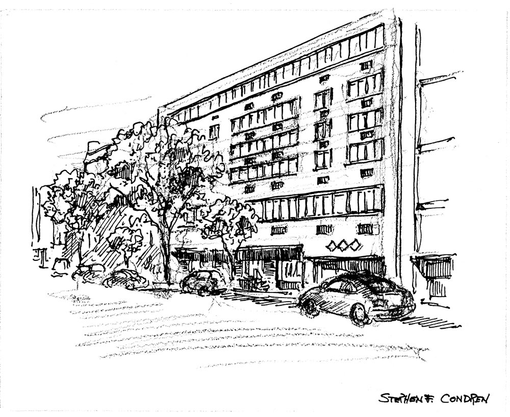 Pen & ink hand rendering by artist Stephen F. Condren for Realtor Daniel Soldano.