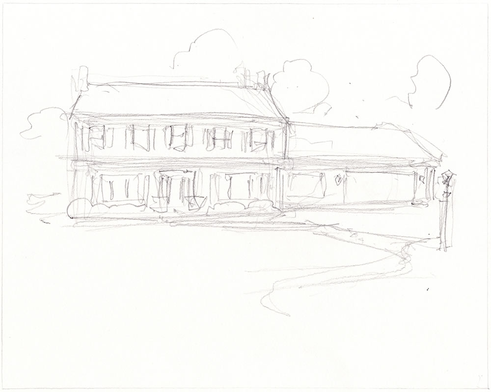 Pencil sketch at a preliminary outline for a house portrait.