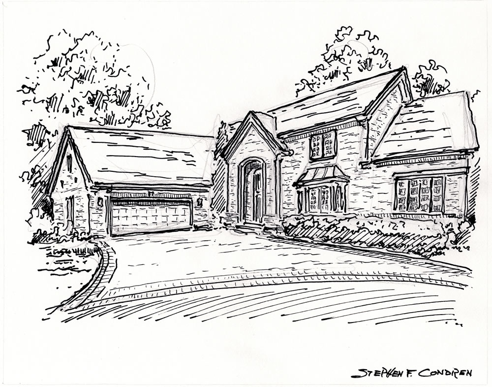 Stylus home sketch used for making prints by artist Stephen F. Condren.