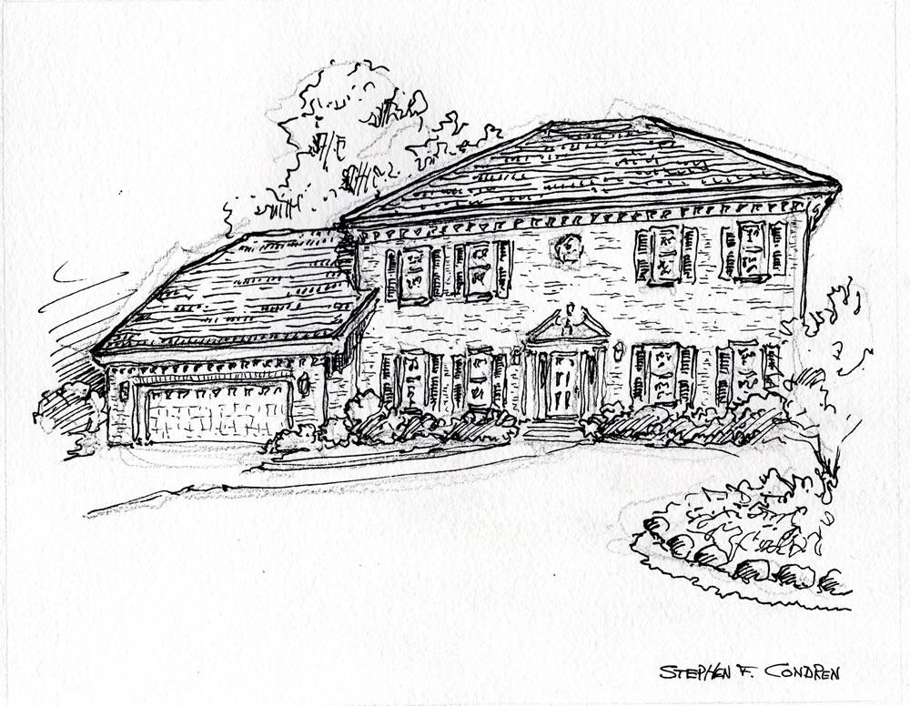 Pen & ink house portrait by artist and United States Navy Veteran, Stephen F. Condren.