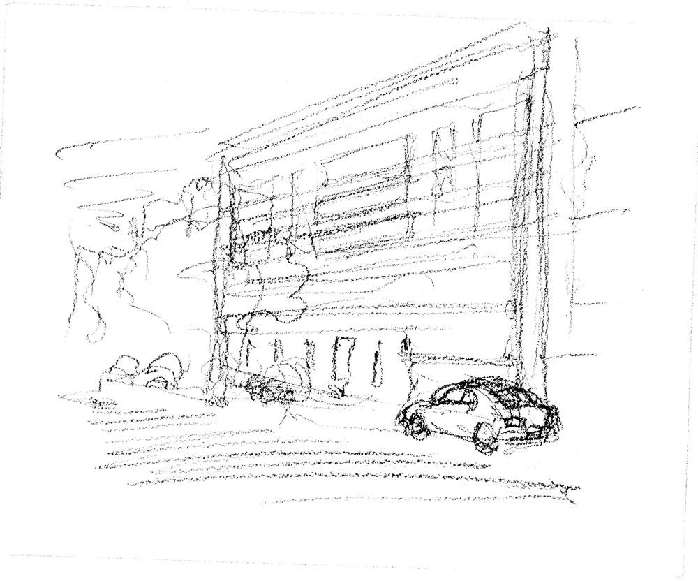 Pencil sketch hand rendering by artist Stephen F. Condren for Realtor Daniel Soldano.