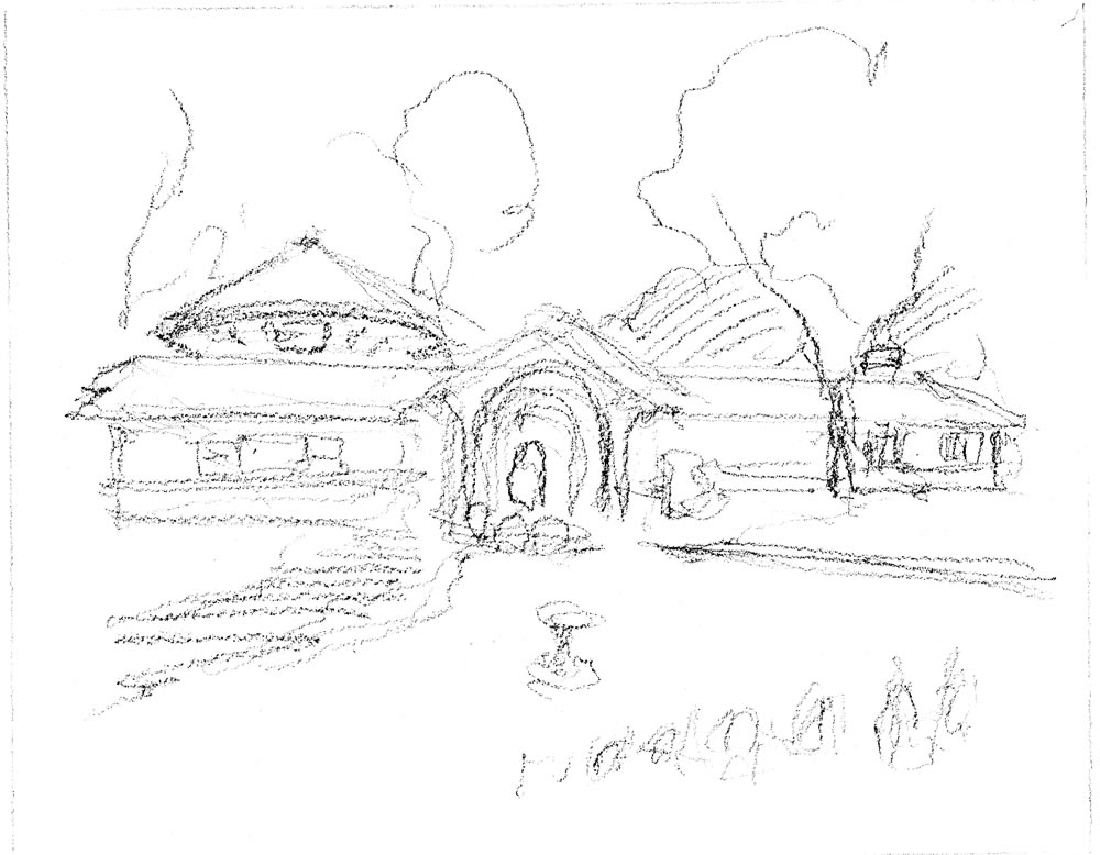 Pencil sketch for a house portrait by artist Stephen F. Condren.