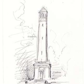 Denny Chimes #754A pencil landmark drawing of a carillon bell tower.