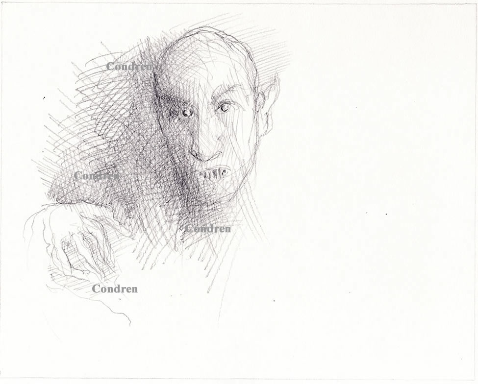 Nosferatu pencil drawing #755A and prints by artist and Navy Veteran at Condren Galleries.
