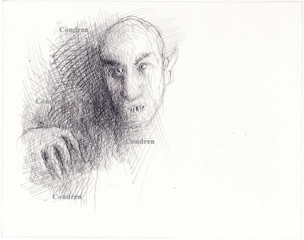 Nosferatu pencil drawing #277Z and prints by artist Stephen F. Condren at Condren Galleries.