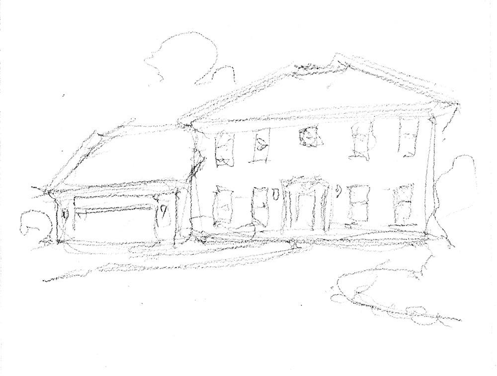 Pencil sketch of a house portrait by artist and United States Navy Veteran, Stephen F. Condren.