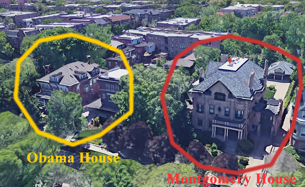 Obama and Montgomery Houses in Kenwood, Chicago. This is an aerial view showing President Obama's house next door to James Montgomery.
