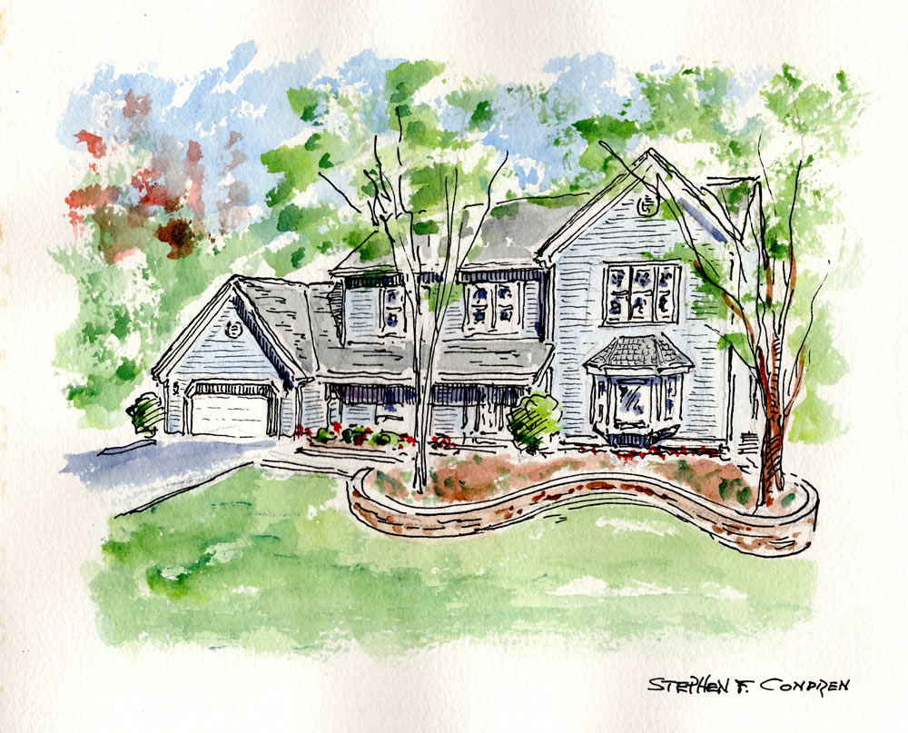 Watercolor house portrait #263Z.