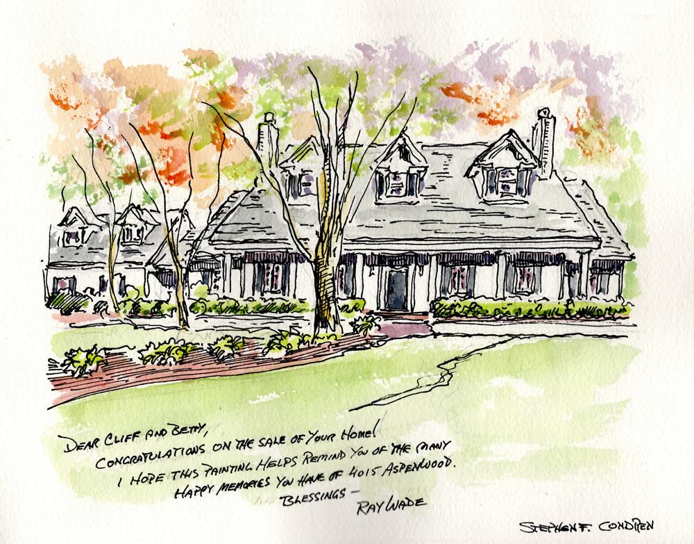 Watercolor house portrait #264Z, pencil drawing, pen & ink, JPEG & PDF scans, Condren Galleries.