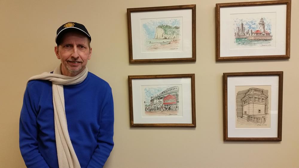 7, Stephen F. Condren in front of his artworks. #283Z